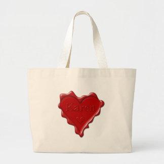 Karen. Red heart wax seal with name Karen Large Tote Bag