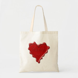 Karen. Red heart wax seal with name Karen Tote Bag