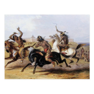 Karl Bodmer - Horse Racing of the Sioux Postcard