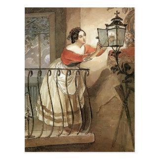 Karl Bryullov- Italian Woman Lightning a Lamp Postcard