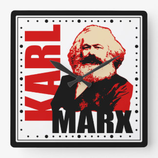 Karl Marx Portrait Square Wall Clock