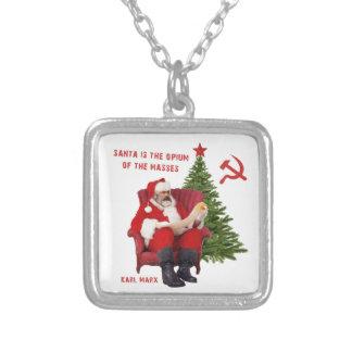 Karl Marx Santa Silver Plated Necklace