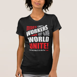 Karl Marx Workers of the World Unite Typographic Tshirts