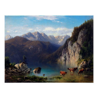 Karl Millner The Alpsee with Cattle Poster