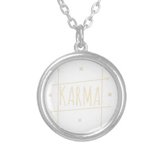 Karma (For Dark Background) Silver Plated Necklace