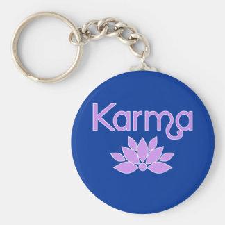 Karma with Lotus Flower Tshirt Key Ring
