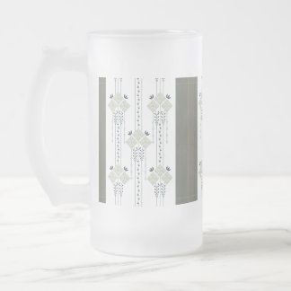Karo flowers and curls pattern... frosted glass beer mug