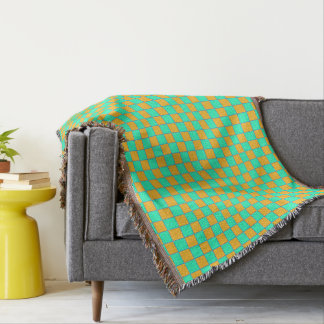 Karo in covers orange and turquoise/mint throw blanket