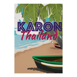 Karon thailand cartoon travel poster. poster