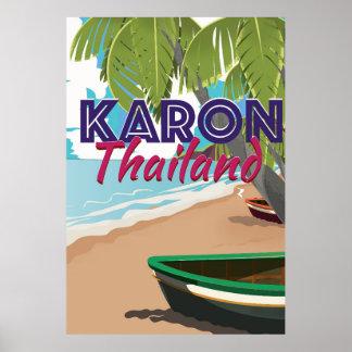 Karon thailand cartoon travel poster. poster