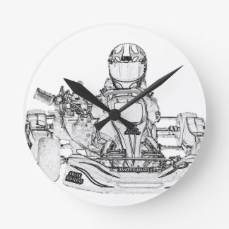 Kart Racer Pencil Sketch Wall Clocks