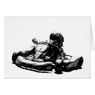 Kart Racer Sepia Pencil Sketch Card