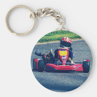 Kart Racing Basic Round Button Key Ring