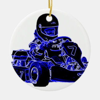 Kart Racing Blue and White Ceramic Ornament