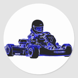 Kart Racing Blue and White Sticker
