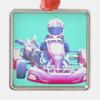 Kart Racing-Blue Background Metal Ornament