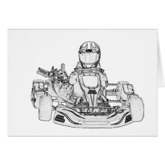 Kart Racing pencil sketch Card