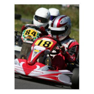 Karting karts minimax motor sport action racing postcard