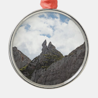 Karwendel range in the Bavarian Alps. Silver-Colored Round Decoration