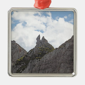 Karwendel range in the Bavarian Alps. Silver-Colored Square Decoration