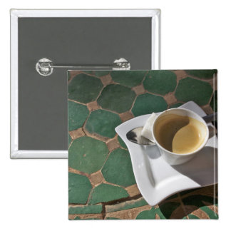 Kasbah Hotel and Restaurant, coffee and green 15 Cm Square Badge