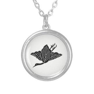 Kashiwa crane silver plated necklace