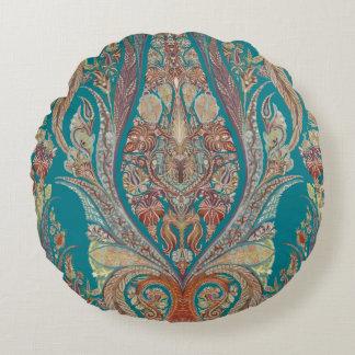 Kashmir Pattern Tribal Boho Bohemian Paisley Art Round Cushion