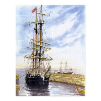 'Kaskelot Enters Charlestown Harbour' Postcard