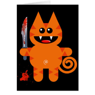 KAT WITH SHARP KNIFE GREETING CARD