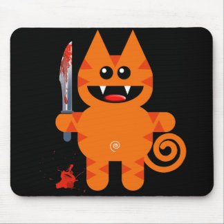 KAT WITH SHARP KNIFE MOUSE PAD