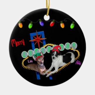 Kate & Abby Merry Christmas Chihuahua Ornament