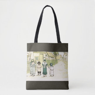 Kate Greenaway: Under the Window Gray Tote Bag