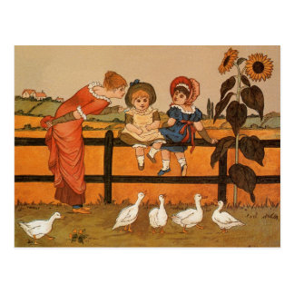 Kate Greenaway, Victorian woman children ducks Postcard