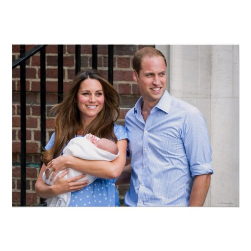 Kate & William with Newborn Son Print