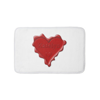 Katelyn. Red heart wax seal with name Katelyn Bath Mats