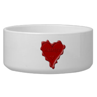 Katelyn. Red heart wax seal with name Katelyn Dog Bowls