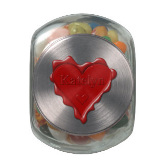 Katelyn. Red heart wax seal with name Katelyn Glass Candy Jar