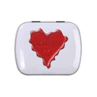 Katelyn. Red heart wax seal with name Katelyn Jelly Belly Candy Tin