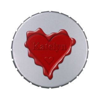 Katelyn. Red heart wax seal with name Katelyn Jelly Belly Tin