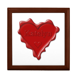 Katelyn. Red heart wax seal with name Katelyn Large Square Gift Box
