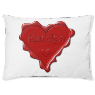Katelyn. Red heart wax seal with name Katelyn Pet Bed
