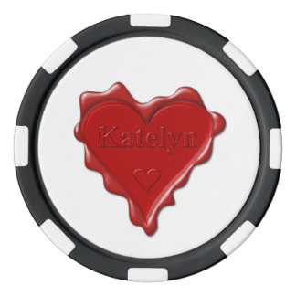 Katelyn. Red heart wax seal with name Katelyn Poker Chips