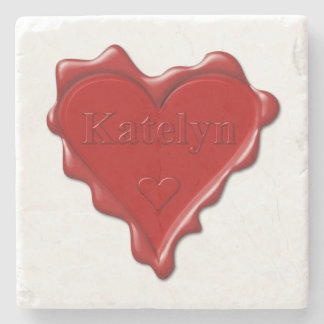 Katelyn. Red heart wax seal with name Katelyn Stone Coaster