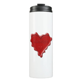 Katelyn. Red heart wax seal with name Katelyn Thermal Tumbler