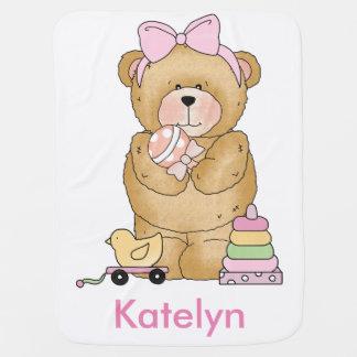 Katelyn's Teddy Bear Personalized Gifts Swaddle Blankets
