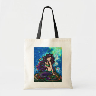 """Kathleen"" Mermaid and Jellyfish Tote Bag"