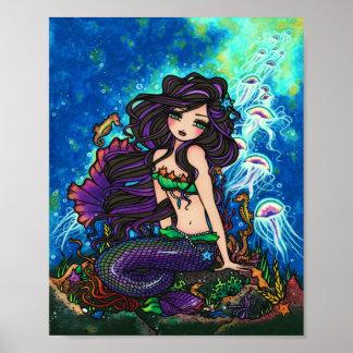 """""""Kathleen"""" Mermaid Jellyfish Ocean Seahorse Fairy Poster"""