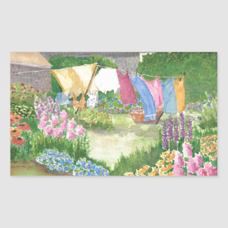 Kathy's Laundry on Monhegan Island Maine Watercolo Rectangular Sticker