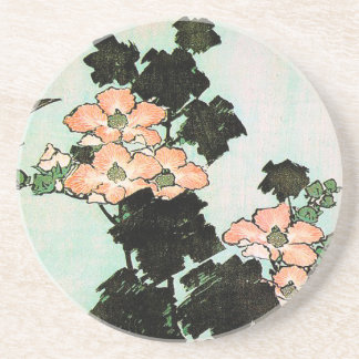 Katsushika Hokusai (葛飾北斎) - Hibiscus and Sparrow Beverage Coasters