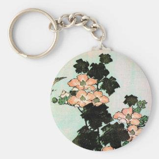 Katsushika Hokusai (葛飾北斎) - Hibiscus and Sparrow Key Ring